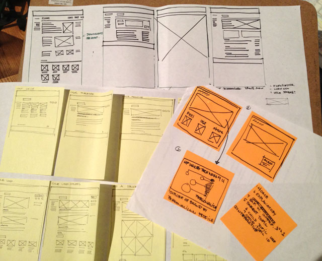 Sketching out wireframes for the HP Experience